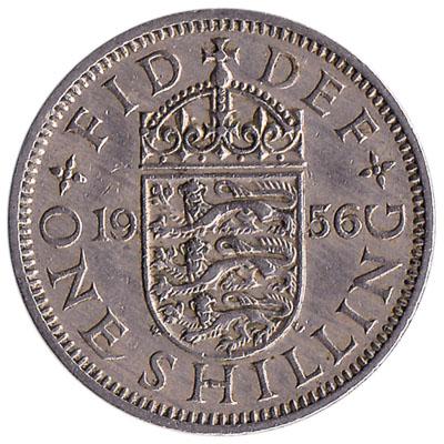 British predecimal one shilling coin