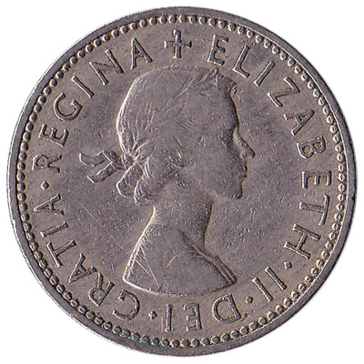 British predecimal one shilling coin