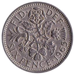 British predecimal sixpence coin