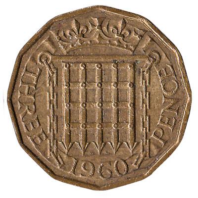 British predecimal threepence coin