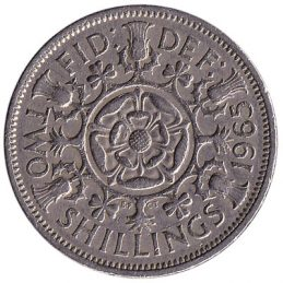 British predecimal two shillings (florin) coin