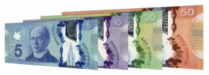 Current Canadian dollar banknotes frontier series