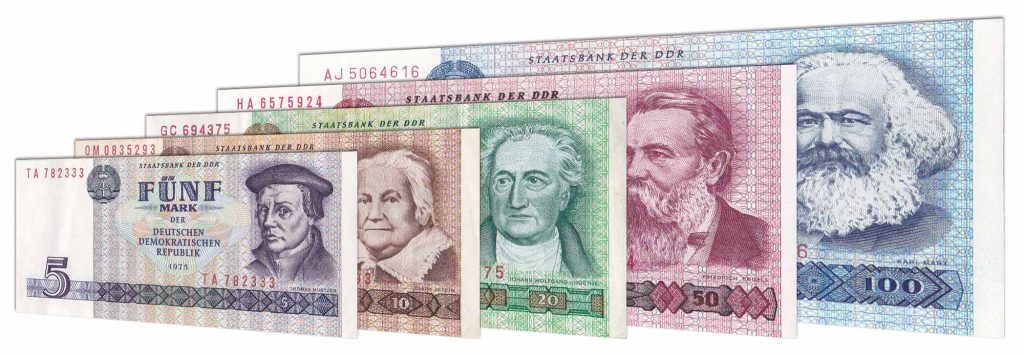 East German DDR mark banknotes