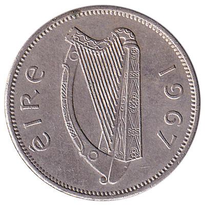 Irish predecimal sixpence coin