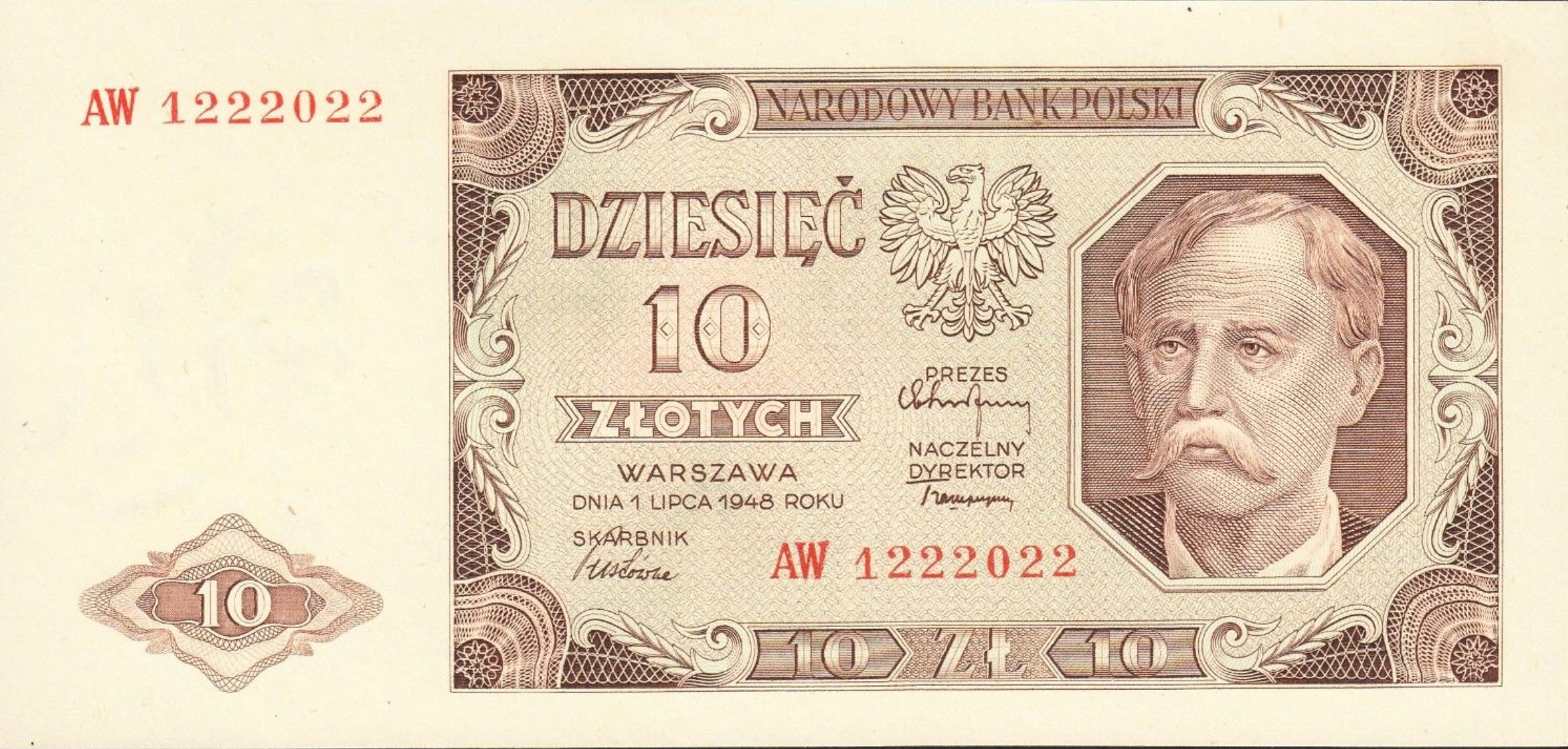 10 old Polish Zlotych banknote (1948 issue)
