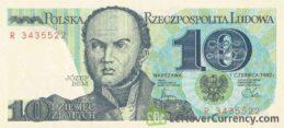 10 old Polish Zlotych banknote (Józef Bem)