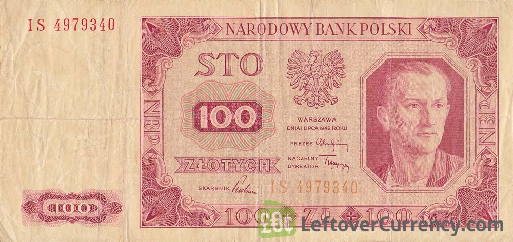 100 old Polish Zlotych banknote (1948 issue)