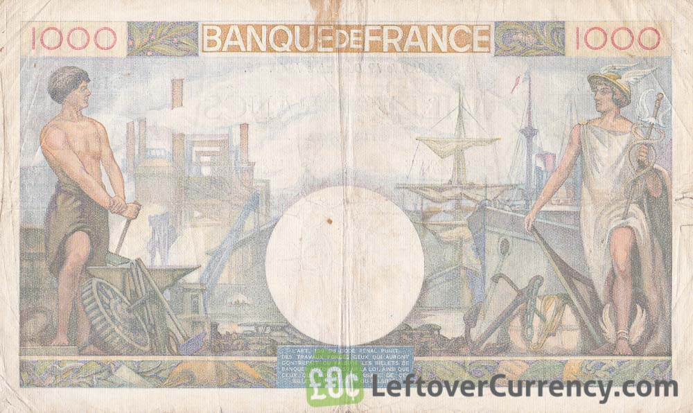 1000 French Francs banknote (Commerce et Industrie) reverse