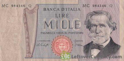 1000 Italian Lire banknote (La Scala)