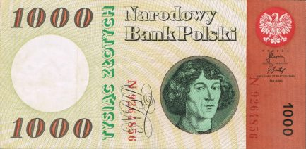 1000 old Polish Zlotych banknote (1965 issue)