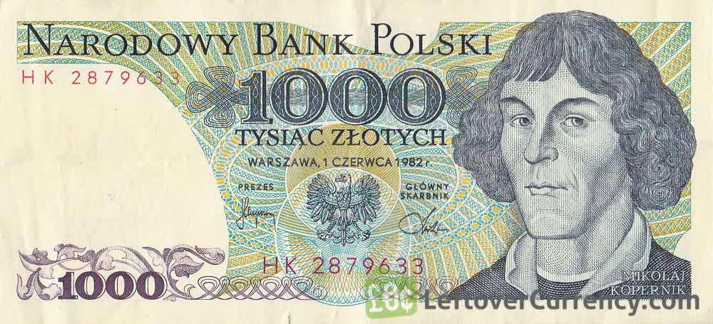 1000 old Polish Zlotych banknote (Nicolaus Copernicus)