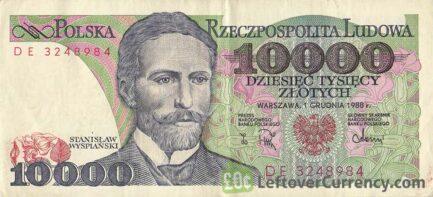 10000 old Polish Zlotych banknote (Stanisław Poniatowski)