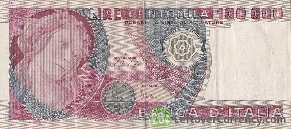 100000 Italian Lire banknote (Botticelli)