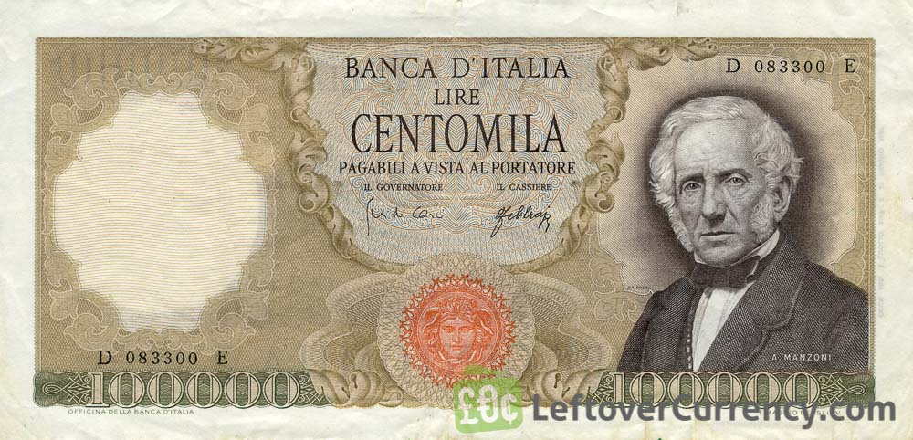 100000 Italian Lire banknote (Manzoni) - Exchange yours for cash today