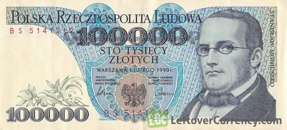100000 old Polish Zlotych banknote (Stanisław Moniuszko)