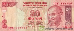 20 Indian Rupees banknote (Gandhi no date)