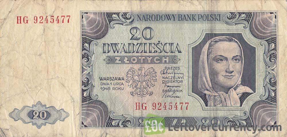 20 old Polish Zlotych banknote (1948 issue)