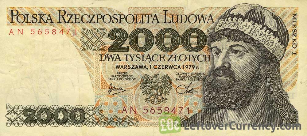 2000 old Polish Zlotych banknote (Prince Mieszko I)