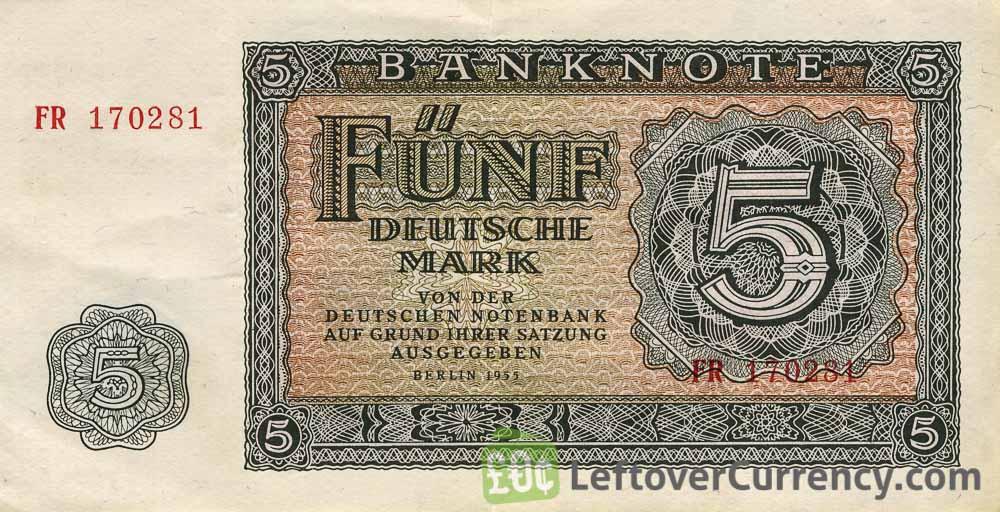 5 DDR Mark banknote Deutschen Notenbank (1955)