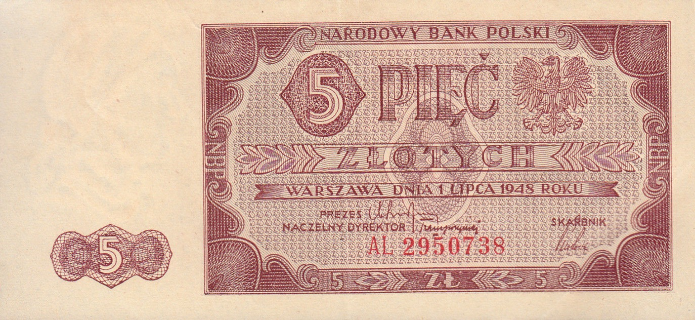 5 old Polish Zlotych banknote (1948 issue)