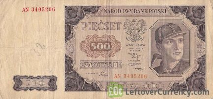 500 old Polish Zlotych banknote (1948 issue)