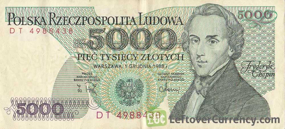 5000 old Polish Zlotych banknote (Fryderyk Chopin)