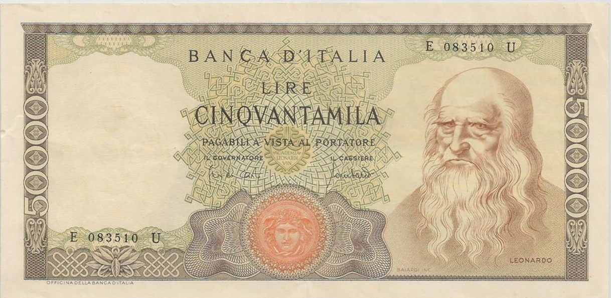 50000 Italian Lire banknote (da Vinci) - Exchange yours ... Italian Money