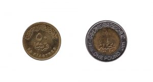 Egyptian pound and piastres coins