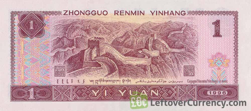 1 Chinese Yuan banknote (Great Wall of China)