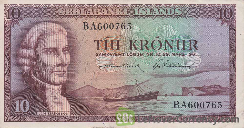10 Icelandic Kronur banknote (Jón Eriksson) obverse accepted for exchange