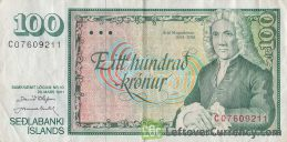 100 Icelandic Kronur banknote (Arni Magnússon)