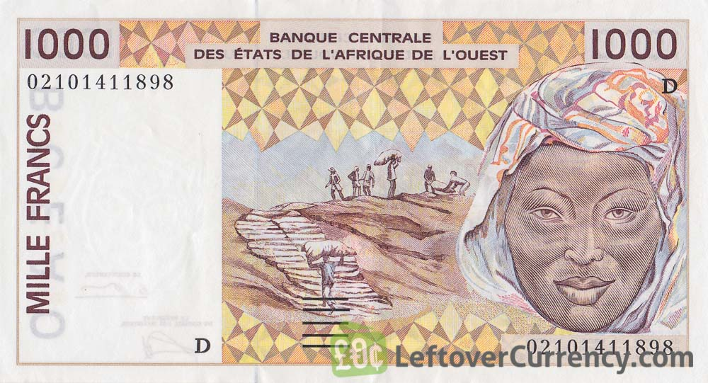 1000 francs banknote West African CFA (1991 to 2002 issue)