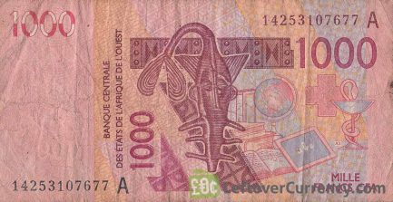 1000 francs banknote West African CFA