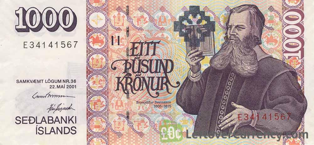 1000 Icelandic Kronur banknote (type 2001)