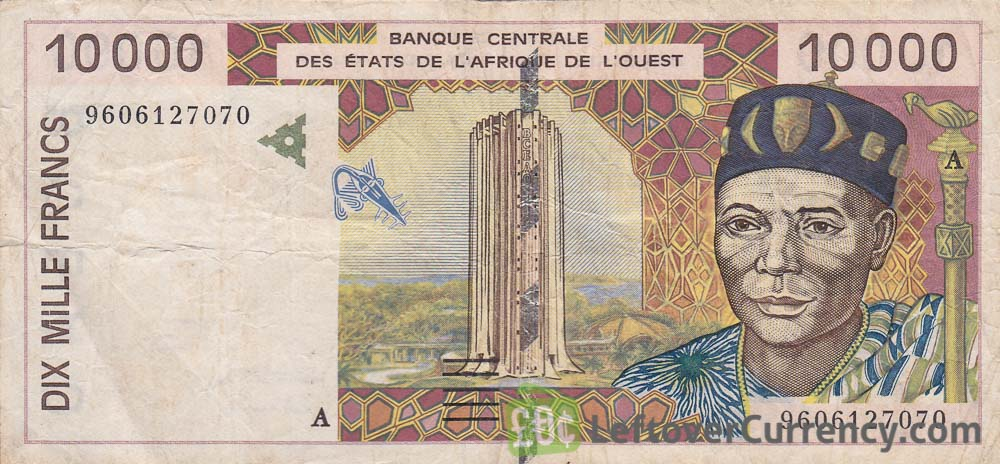 10000 CFA francs West Africa 1992 to 2002 issue obverse