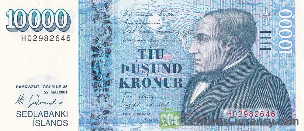 10000 Icelandic Kronur banknote (type 2001)