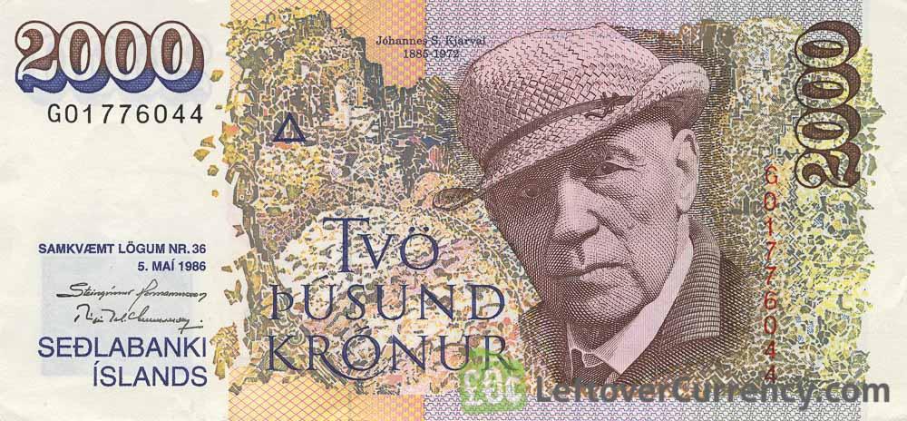 2000 Icelandic Kronur banknote (type 1986)