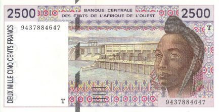 2500 francs banknote West African CFA (1992 to 2002 issue)