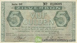 5 Dutch Guilders banknote (Zilverbon)