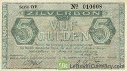 5 Dutch Guilders banknote (Zilverbon)