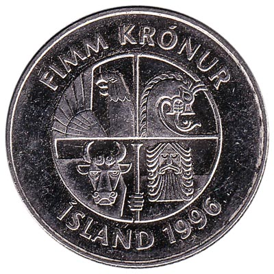 5 Icelandic Kronur coin
