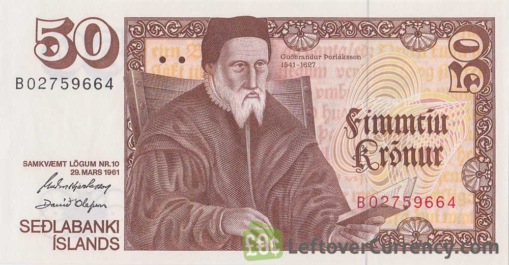 50 Icelandic Kronur banknote (Guthbranthur Thorláksson)