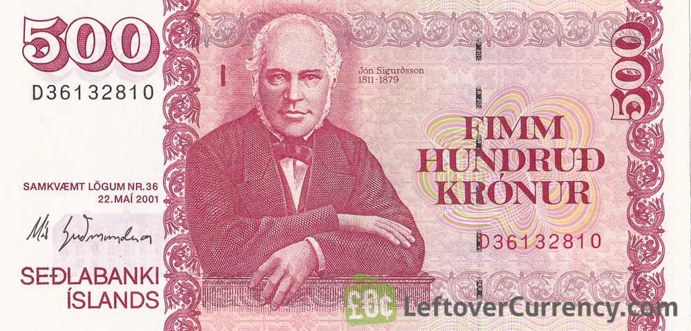 500 Icelandic Kronur banknote (type 2001)
