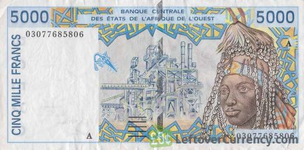 5000 francs banknote West African CFA (1992 to 2002 issue)
