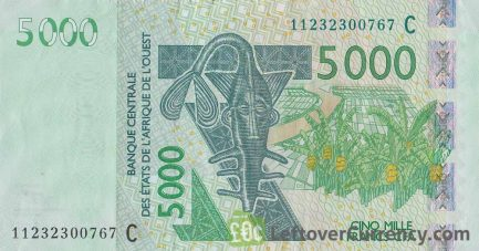 5000 francs banknote West African CFA