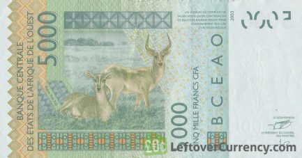 5000 francs banknote West African CFA reverse