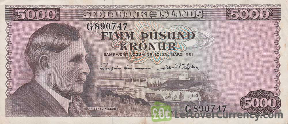 5000 Icelandic Kronur banknote (Einar Benediktsson) obverse accepted for exchange