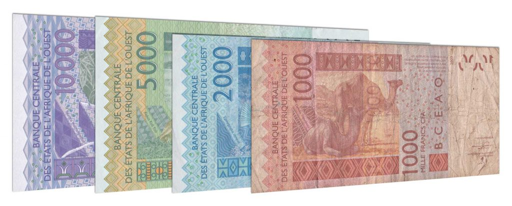 Current West African CFA franc banknotes