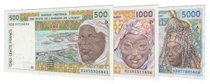 Withdrawn West African CFA Franc banknotes