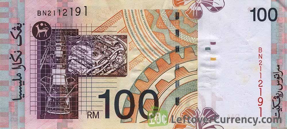 100 Malaysian ringgit banknote 3rd Series reverse